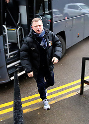 Coventry City Manager Mark Robins arrives at The New Lawn