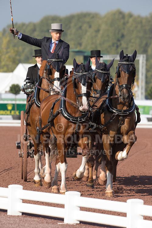 Glenn Geerts, (BEL), Antonio, Ozora Rangos, Red, Scampolo 49, Watapatja - Driving dressage - Alltech FEI World Equestrian Games™ 2014 - Normandy, France.<br /> © Hippo Foto Team - Dirk Caremans<br /> 04/09/14