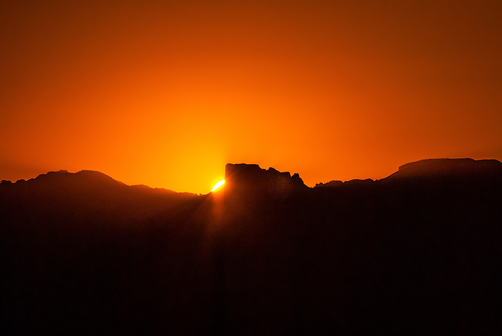 Aerial view of sunrise over the Chisos Mountains (Emory Peak in the center), Big Bend National Park, Texas USA.
