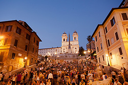 Europe, Italy, Rome, crowd of people on Spanish Steps at dusk