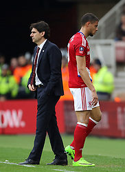 Middlesbrough's Rudy Gestede walks past manager Aitor Karanka as he leaves the pitch with an injury