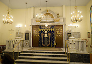 Interior of the synagogue the Torah ark in the centre , Thessaloniki, Macedonia, Greece