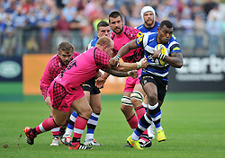 Semesa Rokoduguni of Bath Rugby goes on the attack - Photo mandatory by-line: Patrick Khachfe/JMP - Mobile: 07966 386802 13/09/2014 - SPORT - RUGBY UNION - Bath - The Recreation Ground - Bath Rugby v London Welsh - Aviva Premiership
