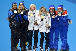 February 22, 2018 - Pyeongchang, South Korea - The medals podium for the Ladies' Team Sprint Free cross-country skiing event in the PyeongChang Olympic Games. .CHARLOTTE KALLA and STINA NILLSON of Sweden .KIKKAN RANDALL and JESSICA DIGGINS of the USA.MARIT BJOERGEN and MAIKEN CASPERSEN FALLA of Norway  (Credit Image: © Christopher Levy via ZUMA Wire)