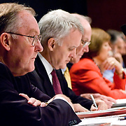 """Commission member James Thompson. Commission staffers present Staff Statement No. 15, """"Overview of the Enemy."""" The 9/11 Commission's 12th public hearing on """"The 9/11 Plot"""" and """"National Crisis Management"""" was held June 16-17, 2004, in Washington, DC."""