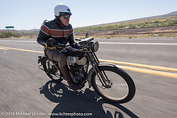 Dean Bordigioni of California riding his Class-1 single-cylinder single-speed 1914 Harley-Davidson during the Motorcycle Cannonball Race of the Century. Stage-13 ride from Williams, AZ to Lake Havasu CIty, AZ. USA. Friday September 23, 2016. Photography ©2016 Michael Lichter.