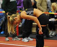 NM Friidrett Innendørs 12-13 februar 2011<br /> Ranheim Friidrettshall, Trondheim<br /> <br /> Petter Northugs kjæreste Rachel Nordtømme, fra Steinkjer Friidrettsklubb, gjør seg klar til å springe 400 m<br /> <br /> Foto : Arve Johnsen, Digitalsport