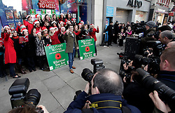 © Licensed to London News Pictures. 20/12/2011. London, United Kingdom .Gareth Malone with the Military Wives Choir pose for the media outside of HMV on Oxford Street to celebrate the success of their single and a hopeful Christmas No. 1 spot..Photo credit : Chris Winter/LNP