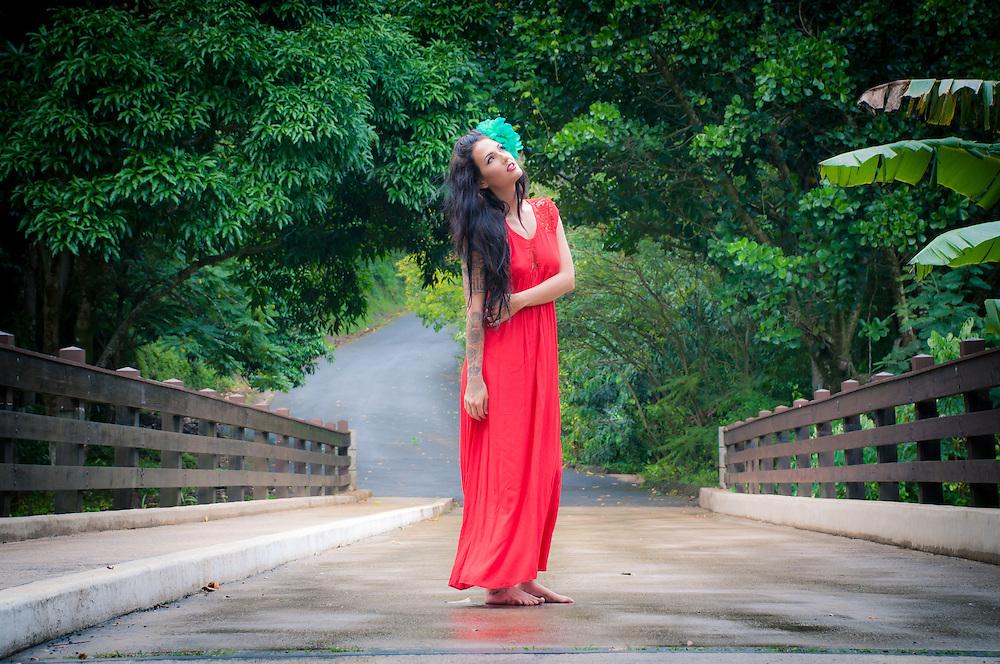 Jessica Hazen Suratt in Tiare Hawaii Dress. Fashion Photography shoot on Oahu, HI.
