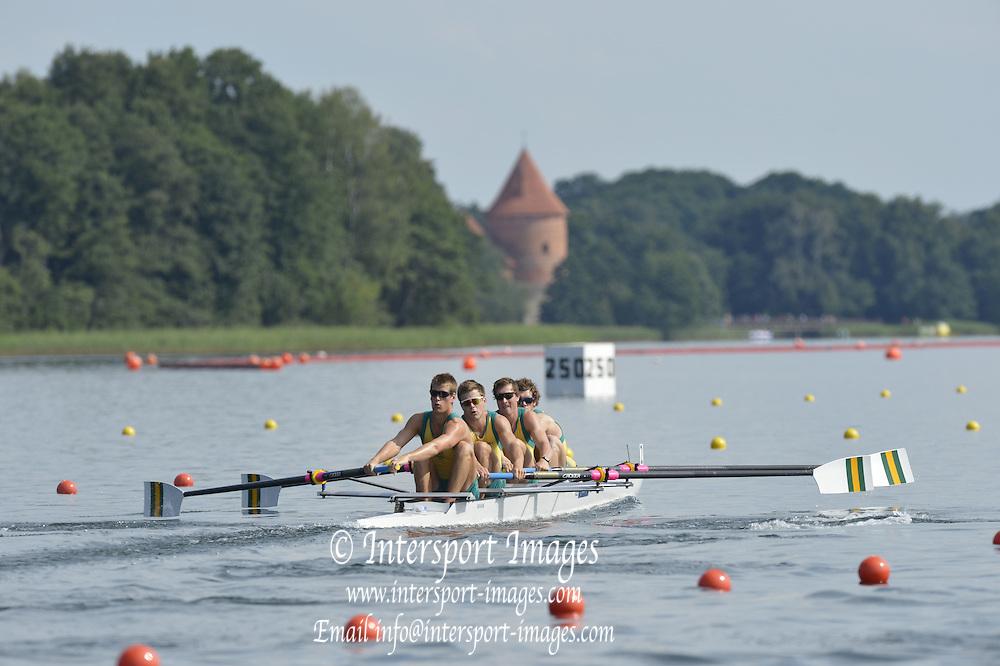 Trackai. LITHUANIA. ..AUS BM4+ at the start. 2012 FISA U23 World Rowing Championships.  Lake Galve. ..16:21:18  Wednesday  11/07/2012 [Mandatory Credit: Peter Spurrier/Intersport Images]..Rowing. 2012. U23.