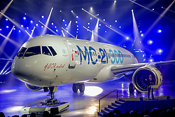 May 4, 2017 - Russia - Russia. The first Irkut MC-21 aircraft left the assembly shop of the Irkut Corporation plant. The Irkut MC-21 is a twin-engine short- to mid-range Russian jet airliner with a capacity of 150-212 passengers. The MC-21 is being developed and to be produced by Irkut and Yakovlev Design Bureau of the United Aircraft Corporation (UAC) group. In picture: MC-21. Photo from irkut.com (Credit Image: © Russian Look via ZUMA Wire)