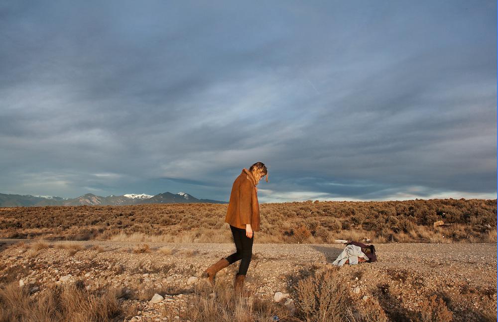 Self portrait taken at sunset, in Rachos De Taos, December 2013.