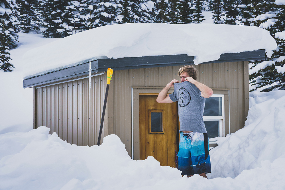 Sauna time at the Meadow Hut with Travis Green, Esplanade Range, BC.