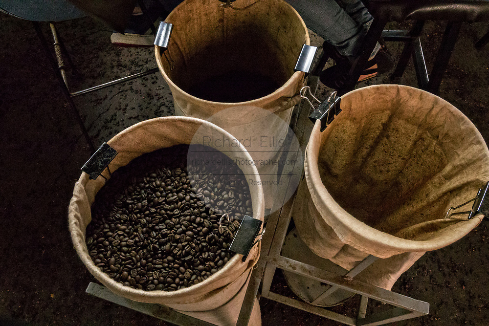 Cloth bags hold graded and roasted coffee beans at the Old World Coffee company in Uruapan, Michoacan, Mexico. Coffee cultivation in the volcanic mountainous region of Uruapan is slowly being replaced by Avocado farms.