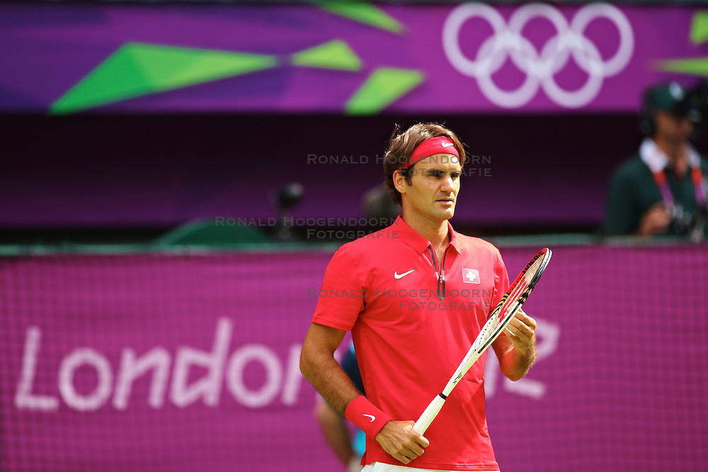 30-07-2012 TENNIS: OLYMPISCHE SPELEN 2012: LONDEN<br /> Roger Federer (SUI)<br /> ***NETHERLANDS ONLY***<br /> ©2012-FotoHoogendoorn.nl/Malte Christians