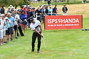 Dimitrios Papadatos and ISPS Handa signage on Day 3 of the 2017 ISPS Handa New Zealand Golf Open. Millbrook, Arrowtown. New Zealand. Saturday 11 March 2017. © Photo: Andrew Cornaga / www.photosport.nz
