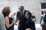 STEPHEN FRY, Sebastian Horsley funeral. St. James's church. St. James. London afterwards in the church garden. July 1 2010. -DO NOT ARCHIVE-© Copyright Photograph by Dafydd Jones. 248 Clapham Rd. London SW9 0PZ. Tel 0207 820 0771. www.dafjones.com.