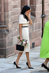 The Duchess of Sussex after attending a lunch at Chester Town Hall