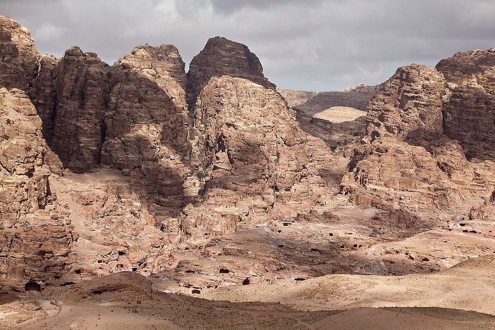 Carved tombs in the cliffs of Petra, Jordan.