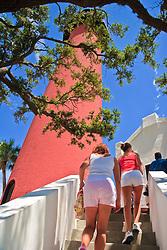 tourists climbing stairs to Jupiter Inlet Lighthouse, Jupiter, Florida, USA, Atlantic Ocean