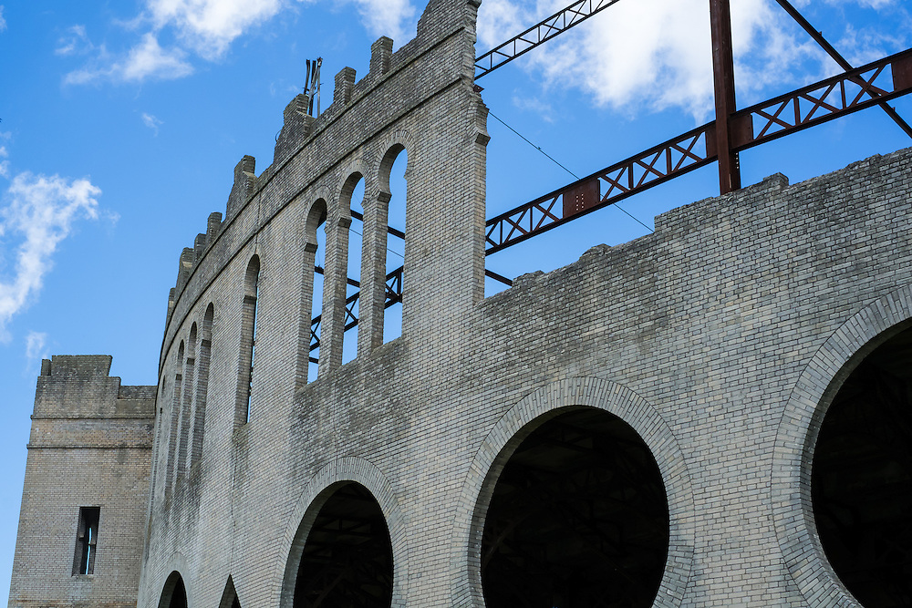 Detail view of the structure of the Plaza de toros Real de San Carlos in Colonia del Sacramento, Uruguay.
