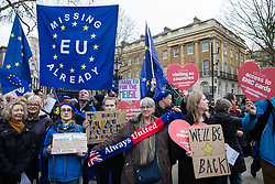London, UK. 31 January, 2020. Julie Ward (c), Labour MEP for North-West England until midnight, joins pro-EU activists for a procession from outside Downing Street to Europe House, the location for the European Commission in London, on the occasion of Brexit Day.