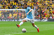 Bernardo Silva (20) of Manchester City on the attack does a stepover during the The FA Cup Final match between Manchester City and Watford at Wembley Stadium, London, England on 18 May 2019.