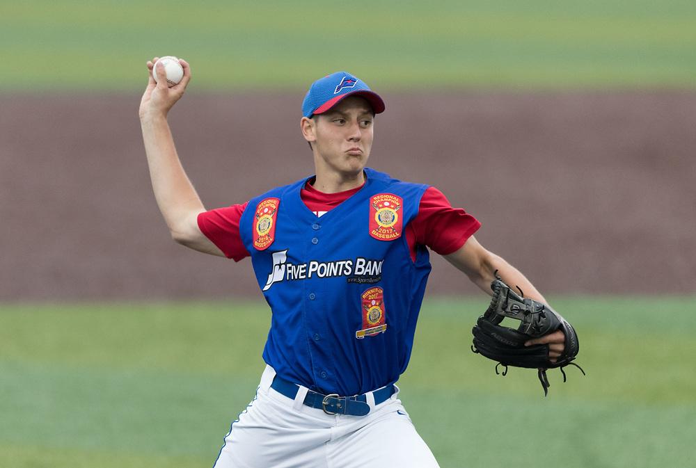 Creighton Prep's Nate Witkowski pitches. Post 1 Omaha, Nebraska, played Post 307 Renner, South Dakota, in a legion baseball game at Creighton Prep on Wednesday, June 20, 2018, in Omaha, Nebraska.