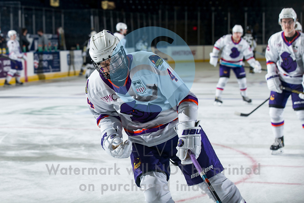 Youngstown Phantoms defeat the Muskegon Lumberjacks 4-3 in overtime at the Covelli Centre on December 5, 2020.<br /> <br /> Mike Rubin, defenseman, 4