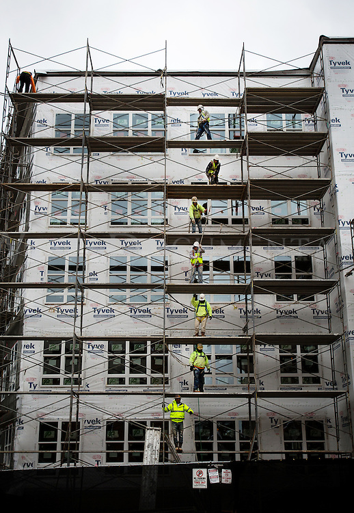 Construction workers at the Stanhope Student Apartments, 2408 Hillsborough Street, Raleigh, pass metal tubing along a human chain, one-by-one to fellow workers on Jan. 27 to finish construction of the scaffolding surrounding the building.