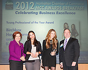 Manhattan Chamber of Commerce's 2012 Awards Breakfast celebrated business excellence by recognizing outstanding leaders. NYC Council Speaker Christine Quinn; Haley Barna and Katia Beauchamp, Birchbox, Young Professional of the Year Award; and Joseph Kirk, Well Fargo The awards were presented by Well Fargo and hosted at Con Edison's Conference Center on January 31, 2013.