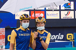 Emilia Fahlin (SWE) and Hanna Nilsson (SWE) at the 2020 UEC Road European Championships - Elite Women Road Race, a 109.2 km road race in Plouay, France on August 27, 2020. Photo by Sean Robinson/velofocus.com