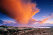Storm clouds blowing over Bodega Bay and the Pacific Ocean, Sonoma Coast, California.