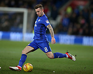 Joe Ralls of Cardiff city in action.  EFL Skybet championship match, Cardiff city v Bolton Wanderers at the Cardiff city Stadium in Cardiff, South Wales on Tuesday 13th February 2018.<br /> pic by Andrew Orchard, Andrew Orchard sports photography.