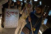 New York, NY - 30 April 2012. This marcher carries a text in Hebrew.