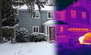 This image is a combination of two images, one taken in visible light and one taken in infrared light. In the IR thermogram the temperature range goes from hot (white) to cold (blue). Thermography is a technique for visualizing the temperature of surfaces by recording the emission of long-wavelength infrared radiation. This heat radiation is detected electronically and displayed with different colors representing different temperatures.  In this image the whiter colors are the hottest.  The windows in homes are a major source of heat loss.
