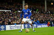 Mason Holgate of Everton in action. Premier league match, Everton v Manchester Utd at Goodison Park in Liverpool, Merseyside on New Years Day, Monday 1st January 2018.<br /> pic by Chris Stading, Andrew Orchard sports photography.