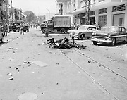 Scene of Vietcong North Vietnamese) terrorist bombing in Saigon, Republic of Vietnam (South Vietnam) 1965.