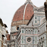 FLORENCE, ITALY - NOVEMBER 01:  The domed rooftop of Florence's Cathedral, Basilica di Santa Maria del Fiore, known as Duomo in Florence, Italy. The Duomo is the main church of the city of Florence. Construction was started in 1296 in the Gothic style with the structure completed in 1436. The famous dome was designed by Arnolfo di Cambio and engineered by Filippo Brunelleschi. Florence, Italy, 1st November 2017. Photo by Tim Clayton/Corbis via Getty Images)