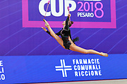 Tashkenbaeva Sabina from Uzbekistan during the final of the clubs. She was born in Tashkent 2000. Sabina began competing in gymnastics at age six. His dream is to participate in the upcoming Tokyo Olympics in 2020