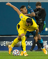 SAINT PETERSBURG, RUSSIA - DECEMBER 08: Malcom of Zenit St. Petersburg tussles with Emre Can of Borussia Dortmund during the UEFA Champions League Group F stage match between Zenit St. Petersburg and Borussia Dortmund at Gazprom Arena on December 8, 2020 in Saint Petersburg, Russia. (Photo by MB Media)