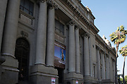 Front facade/entrance of the Biblioteca Nacional (National Library), Santiago, Chile.