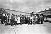 14/06/1963<br /> 06/14/1963<br /> 14 June 1963<br /> Finnish Peat Society visit to Ireland. Forty-eight members of the Finnish Peat Society arriving at Dublin Airport for a three day visit to Ireland, among them top executives of Finnish firms using peat, for visits to Bord na Mona's works in Kildare and Offaly.  The group pictured on arrival at Dublin Airport