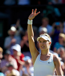 03.07.2014, All England Lawn Tennis Club, London, ENG, WTA Tour, Wimbledon, Tag 10, im Bild Eugenie Bouchard (CAN) celebrates after winning the Ladies' Singles Semi-Final match 7-6 (5), 6-2 on day ten // during day 10 of the Wimbledon Championships at the All England Lawn Tennis Club in London, Great Britain on 2014/07/03. EXPA Pictures © 2014, PhotoCredit: EXPA/ Propagandaphoto/ David Rawcliffe<br /> <br /> *****ATTENTION - OUT of ENG, GBR*****