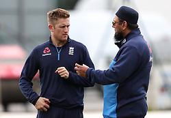 England's Liam Dawson (left) and spin coach Saqlain Mushtaq during the nets session at Emirates Old Trafford, Manchester.