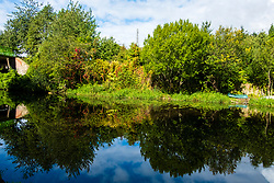 Sheffield & Tinsley Canal Reflection of trees on the water close to the Attercliffe & Shirland Lane Bridge 8<br /> <br /> 06 September 2020<br /> <br /> www.pauldaviddrabble.co.uk<br /> All Images Copyright Paul David Drabble - <br /> All rights Reserved - <br /> Moral Rights Asserted -