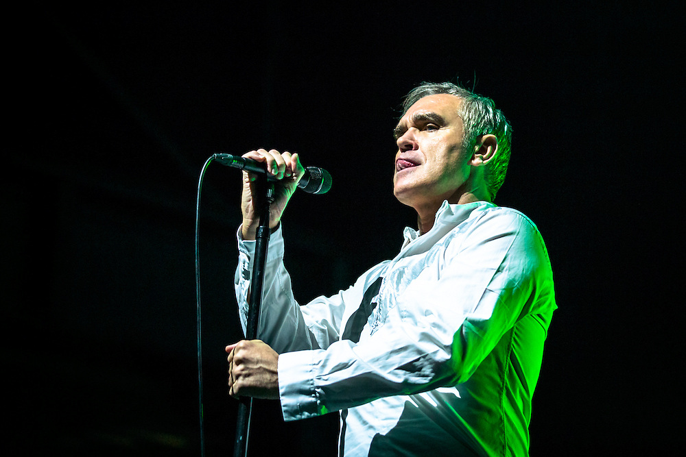 """MORRISSEY live at Palladium Cologne during """"The World Peace Is None of Your Business"""" Tour 2015. The lyricist and vocalist of the former rock band The Smiths is an important innovator in the indie music scene and known for his contrarian opinions and as a fiercful animal protectionist.<br /> <br /> © IRIS EDINGER 