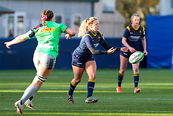 Sarah Nicholas of Worcester Warriors Women spins out a pass - Mandatory by-line: Nick Browning/JMP - 20/12/2020 - RUGBY - Sixways Stadium - Worcester, England - Worcester Warriors Women v Harlequins Women - Allianz Premier 15s