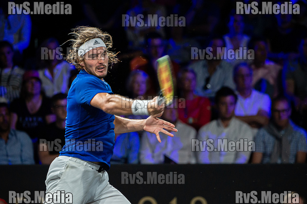 GENEVA, SWITZERLAND - SEPTEMBER 22: Stefanos Tsitsipas of Team Europe plays a forehand during Day 3 of the Laver Cup 2019 at Palexpo on September 20, 2019 in Geneva, Switzerland. The Laver Cup will see six players from the rest of the World competing against their counterparts from Europe. Team World is captained by John McEnroe and Team Europe is captained by Bjorn Borg. The tournament runs from September 20-22. (Photo by Robert Hradil/RvS.Media)