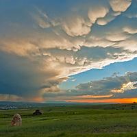 A thunderstorm squall moves across the Gallatin Valley near Bozeman, Montana.